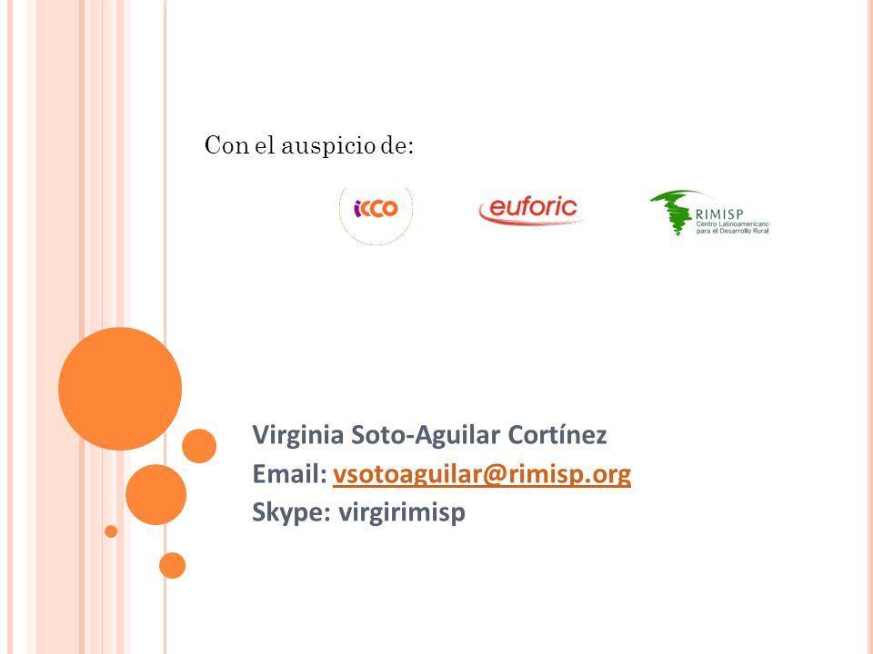 Virginia Soto-Aguilar Cortínez Email: vsotoaguilar@rimisp.orgvsotoaguilar@rimisp.org Skype: virgirimisp Con el auspicio de: