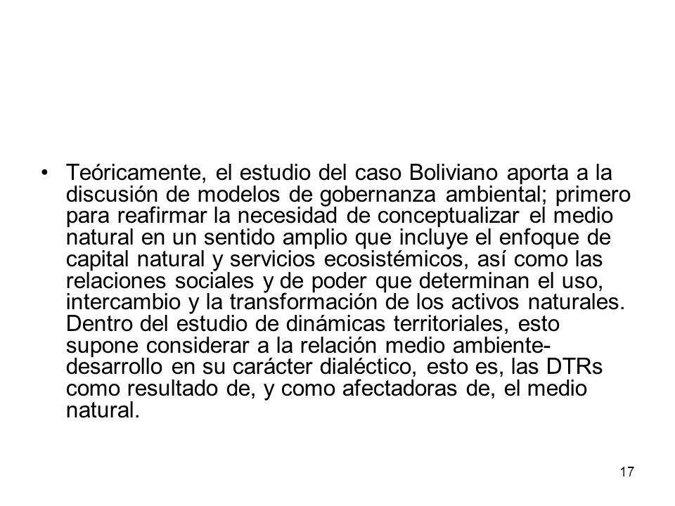 17 Teóricamente, el estudio del caso Boliviano aporta a la discusión de modelos de gobernanza ambiental; primero para reafirmar la necesidad de conceptualizar el medio natural en un sentido amplio que incluye el enfoque de capital natural y servicios ecosistémicos, así como las relaciones sociales y de poder que determinan el uso, intercambio y la transformación de los activos naturales.