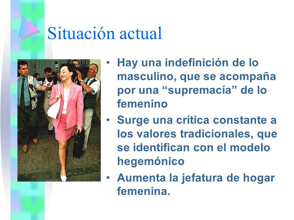 Situación actual Hay una indefinición de lo masculino, que se acompaña por una supremacía de lo femenino Surge una crítica constante a los valores tra