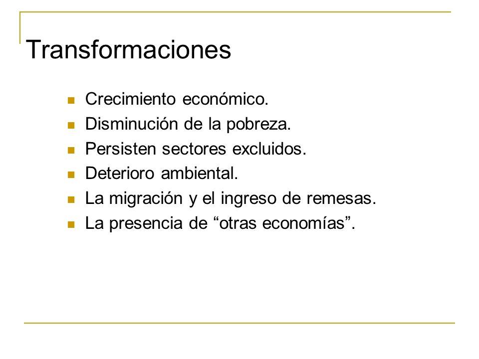 Transformaciones Crecimiento económico. Disminución de la pobreza. Persisten sectores excluidos. Deterioro ambiental. La migración y el ingreso de rem