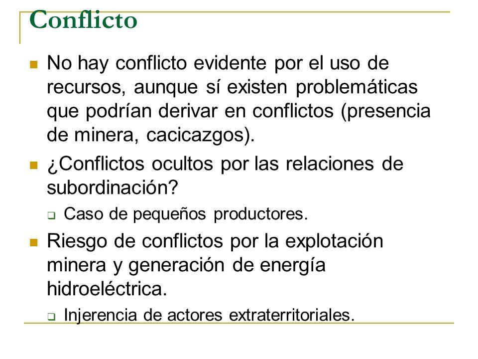 Conflicto No hay conflicto evidente por el uso de recursos, aunque sí existen problemáticas que podrían derivar en conflictos (presencia de minera, cacicazgos).