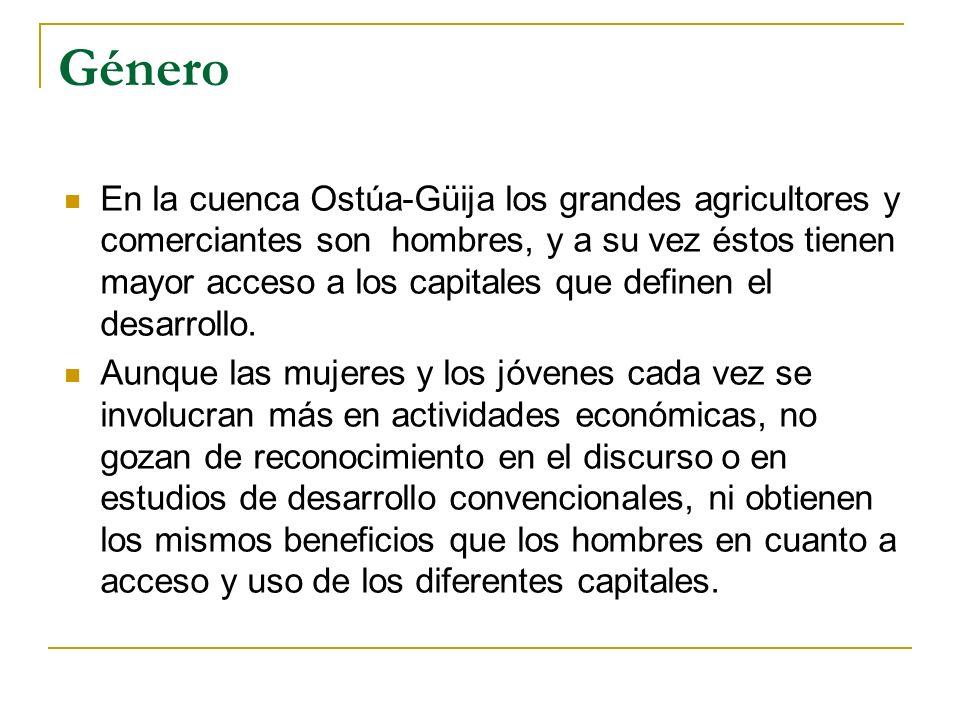 Género En la cuenca Ostúa-Güija los grandes agricultores y comerciantes son hombres, y a su vez éstos tienen mayor acceso a los capitales que definen el desarrollo.