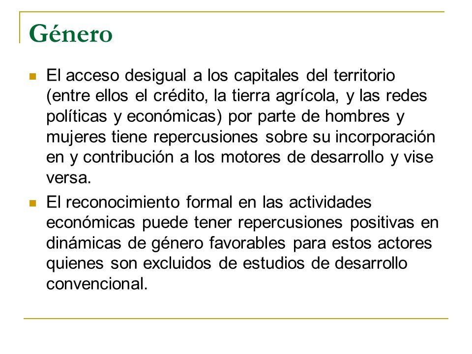 Género El acceso desigual a los capitales del territorio (entre ellos el crédito, la tierra agrícola, y las redes políticas y económicas) por parte de hombres y mujeres tiene repercusiones sobre su incorporación en y contribución a los motores de desarrollo y vise versa.