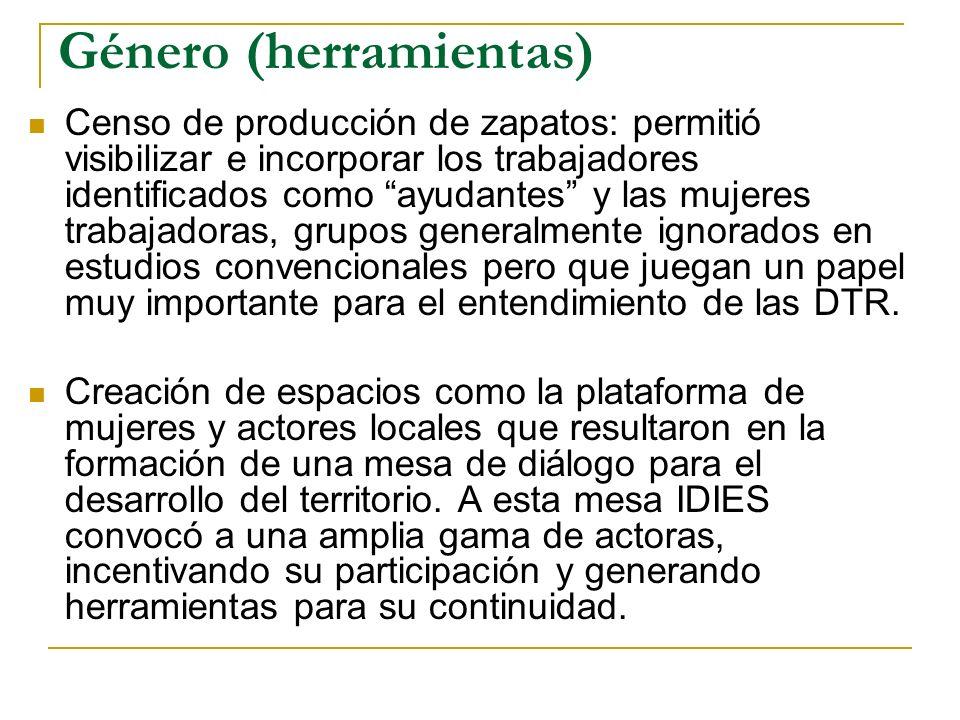 Género (herramientas) Censo de producción de zapatos: permitió visibilizar e incorporar los trabajadores identificados como ayudantes y las mujeres tr