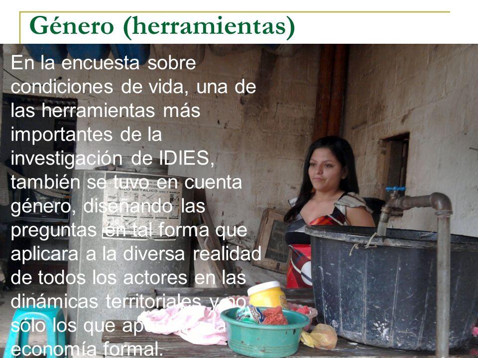 Género (herramientas) En la encuesta sobre condiciones de vida, una de las herramientas más importantes de la investigación de IDIES, también se tuvo en cuenta género, diseñando las preguntas en tal forma que aplicara a la diversa realidad de todos los actores en las dinámicas territoriales y no sólo los que aportan a la economía formal.