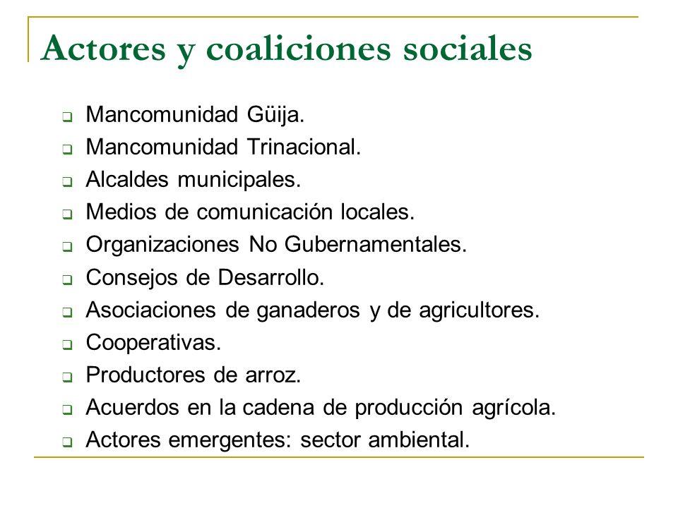 Actores y coaliciones sociales Mancomunidad Güija. Mancomunidad Trinacional. Alcaldes municipales. Medios de comunicación locales. Organizaciones No G