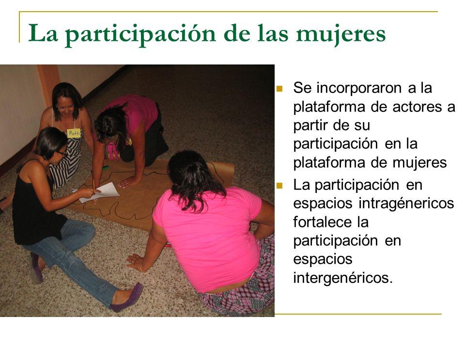 La participación de las mujeres Se incorporaron a la plataforma de actores a partir de su participación en la plataforma de mujeres La participación en espacios intragénericos fortalece la participación en espacios intergenéricos.