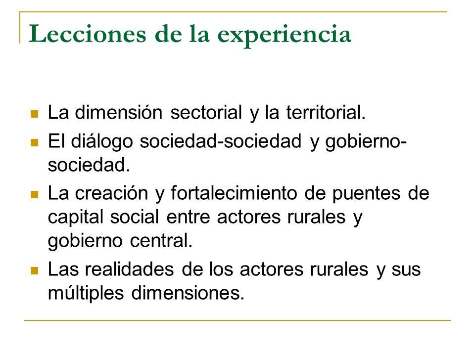 Lecciones de la experiencia La dimensión sectorial y la territorial. El diálogo sociedad-sociedad y gobierno- sociedad. La creación y fortalecimiento