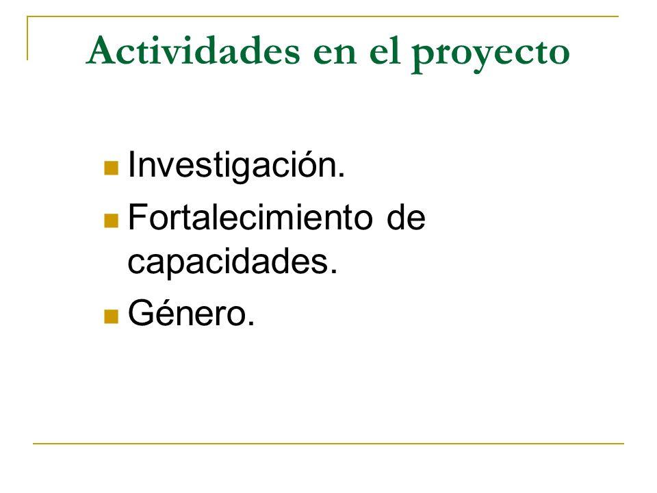Actividades en el proyecto Investigación. Fortalecimiento de capacidades. Género.