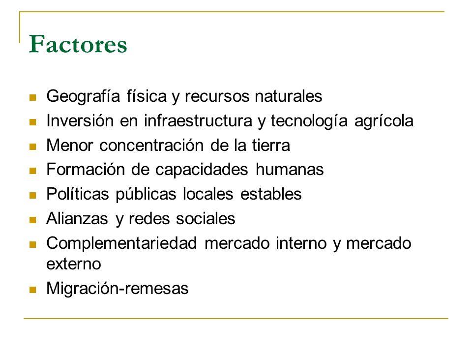 Factores Geografía física y recursos naturales Inversión en infraestructura y tecnología agrícola Menor concentración de la tierra Formación de capacidades humanas Políticas públicas locales estables Alianzas y redes sociales Complementariedad mercado interno y mercado externo Migración-remesas