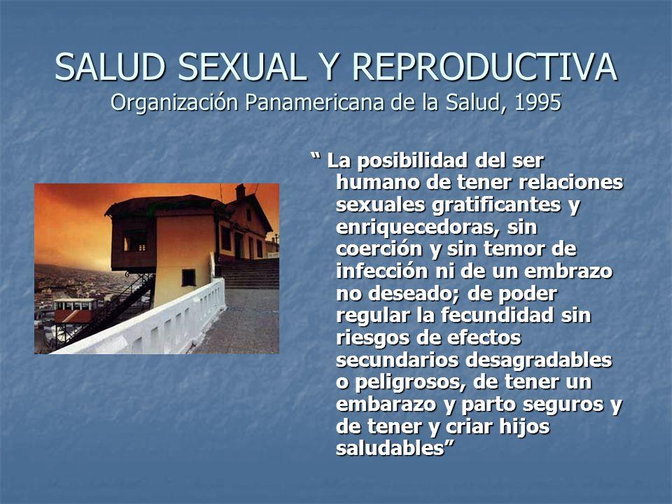 SALUD SEXUAL Y REPRODUCTIVA Organización Panamericana de la Salud, 1995 La posibilidad del ser humano de tener relaciones sexuales gratificantes y enr