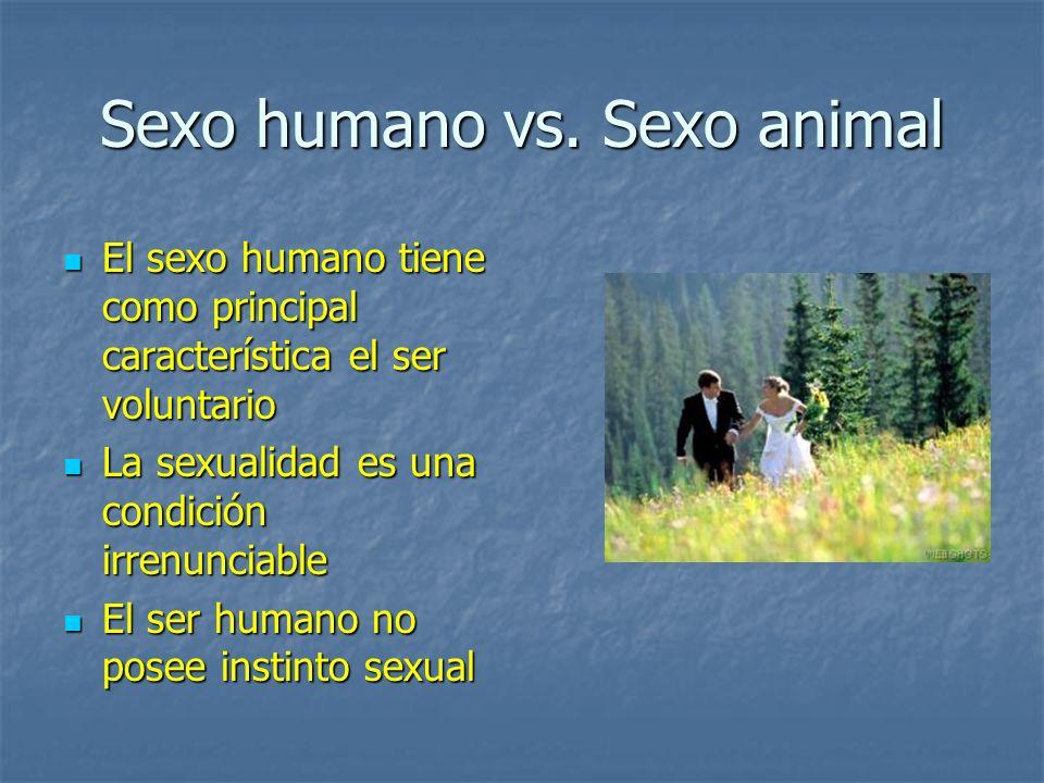 Sexo humano vs. Sexo animal El sexo humano tiene como principal característica el ser voluntario El sexo humano tiene como principal característica el