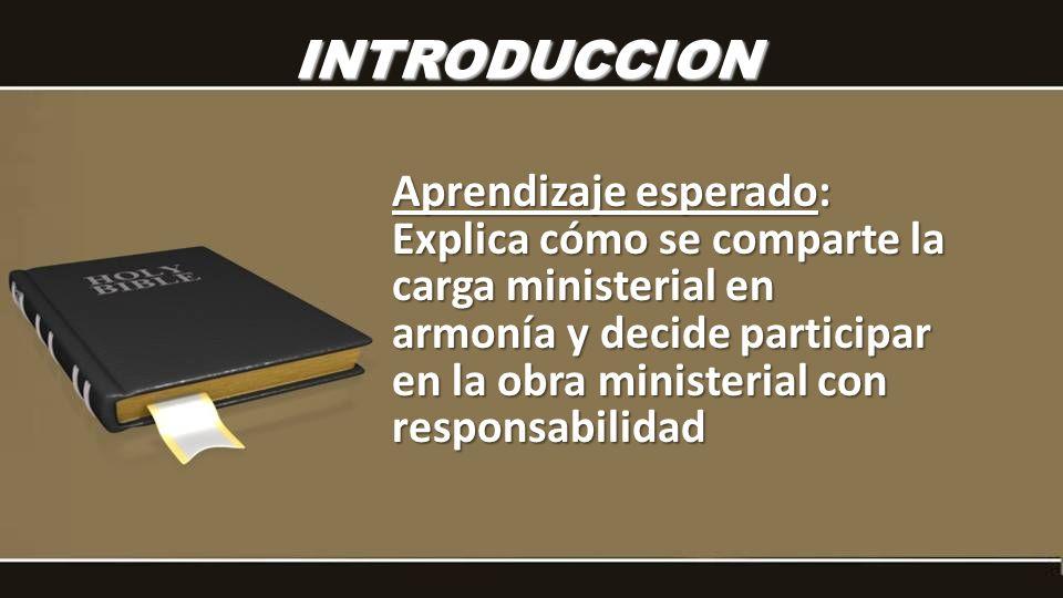 INTRODUCCION Aprendizaje esperado: Explica cómo se comparte la carga ministerial en armonía y decide participar en la obra ministerial con responsabil