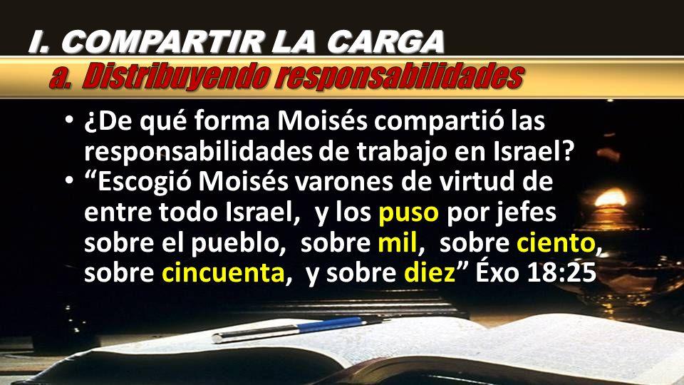 I. COMPARTIR LA CARGA ¿De qué forma Moisés compartió las responsabilidades de trabajo en Israel? ¿De qué forma Moisés compartió las responsabilidades