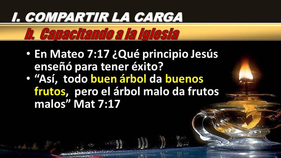 En Mateo 7:17 ¿Qué principio Jesús enseñó para tener éxito? En Mateo 7:17 ¿Qué principio Jesús enseñó para tener éxito? Así, todo buen árbol da buenos