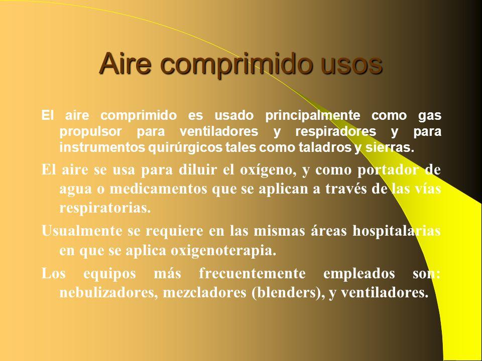 Aire comprimido usos El aire comprimido es usado principalmente como gas propulsor para ventiladores y respiradores y para instrumentos quirúrgicos ta
