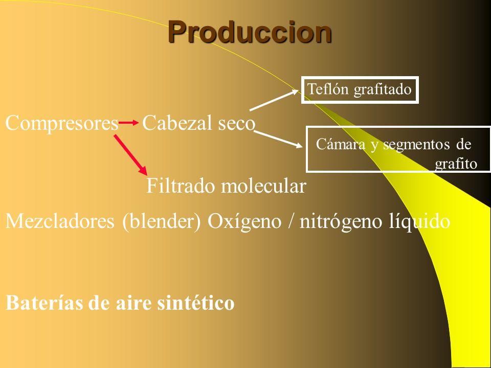 Produccion Compresores Cabezal seco Filtrado molecular Teflón grafitado Cámara y segmentos de grafito Mezcladores (blender) Oxígeno / nitrógeno líquid