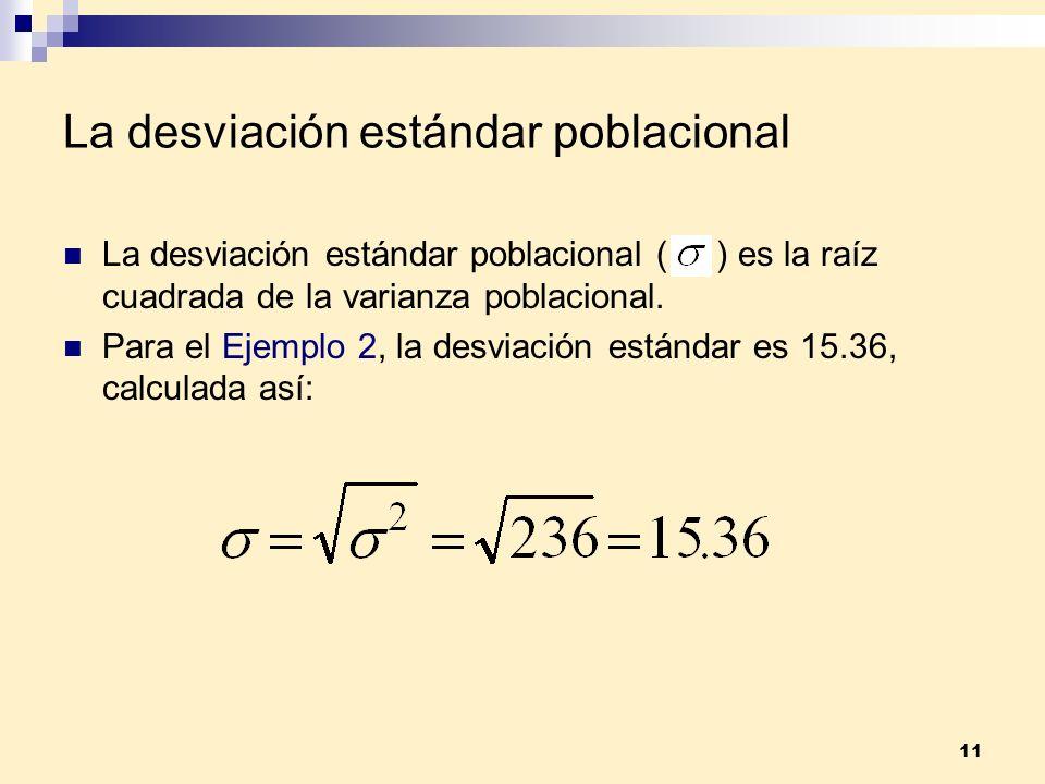 11 La desviación estándar poblacional La desviación estándar poblacional ( ) es la raíz cuadrada de la varianza poblacional. Para el Ejemplo 2, la des
