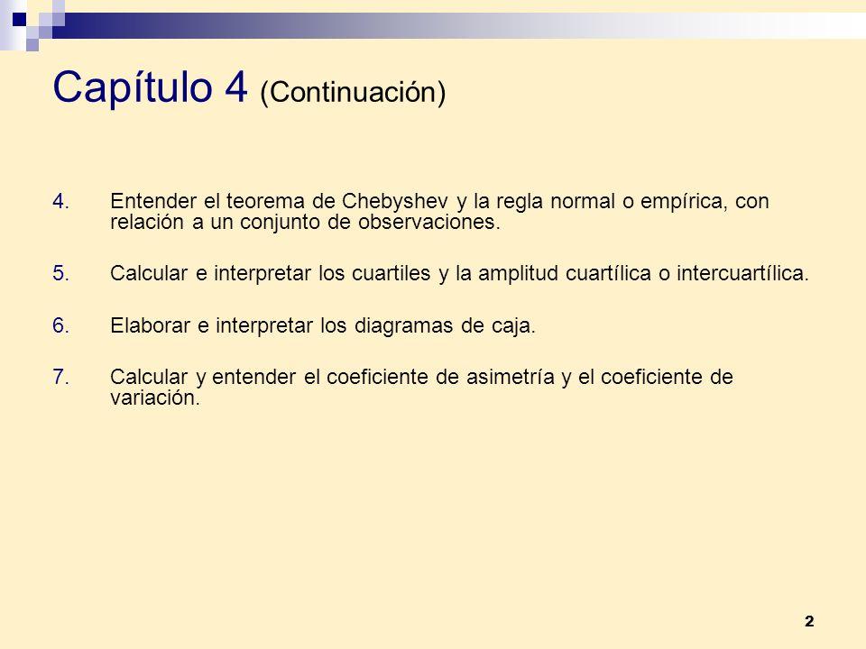 2 Capítulo 4 (Continuación) 4.Entender el teorema de Chebyshev y la regla normal o empírica, con relación a un conjunto de observaciones. 5.Calcular e