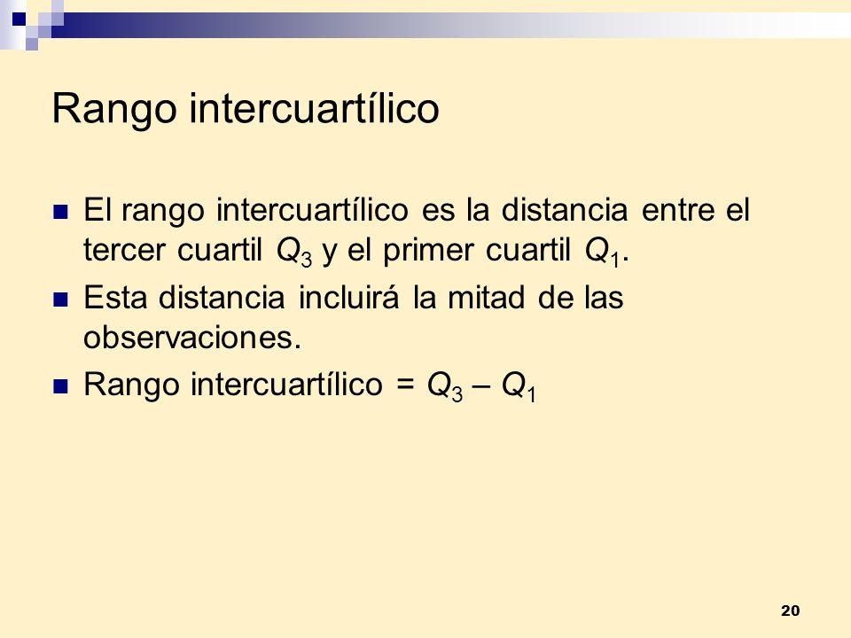 20 Rango intercuartílico El rango intercuartílico es la distancia entre el tercer cuartil Q 3 y el primer cuartil Q 1. Esta distancia incluirá la mita