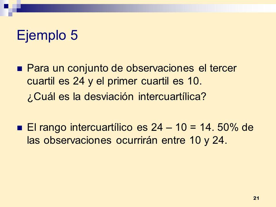 21 Ejemplo 5 Para un conjunto de observaciones el tercer cuartil es 24 y el primer cuartil es 10. ¿Cuál es la desviación intercuartílica? El rango int