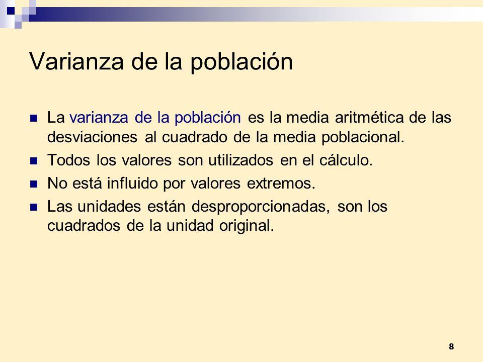 8 Varianza de la población La varianza de la población es la media aritmética de las desviaciones al cuadrado de la media poblacional. Todos los valor