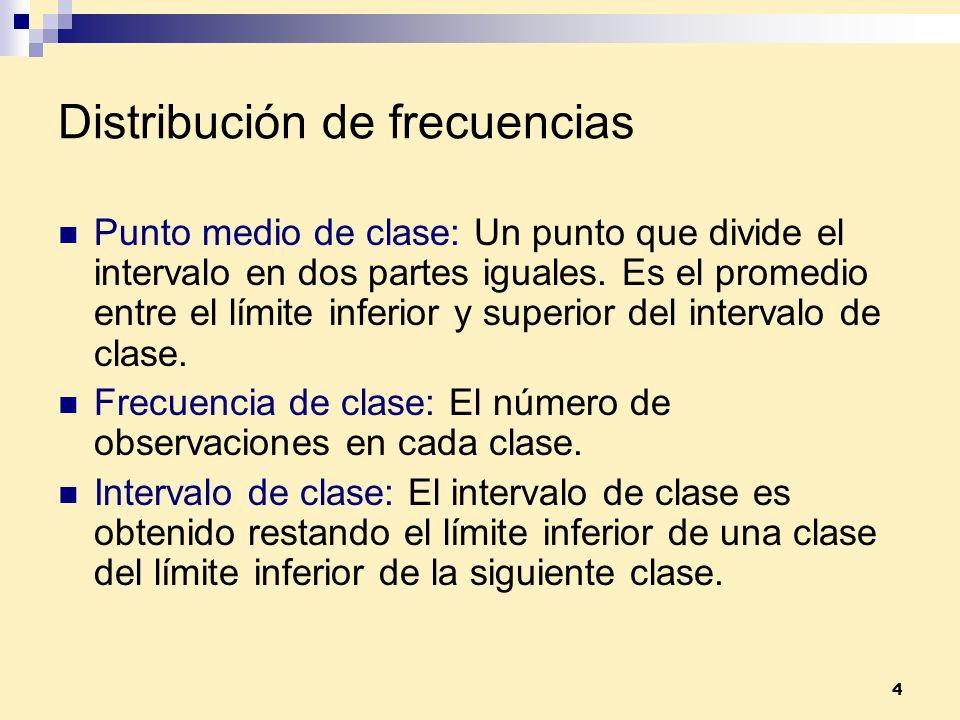 4 Punto medio de clase: Un punto que divide el intervalo en dos partes iguales. Es el promedio entre el límite inferior y superior del intervalo de cl