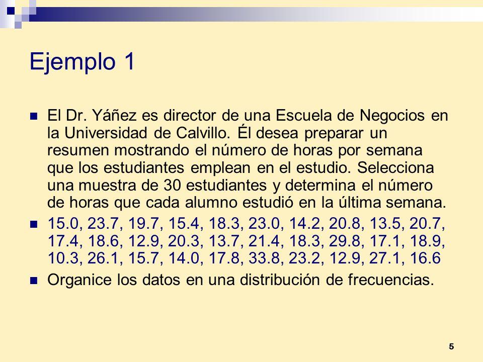 5 Ejemplo 1 El Dr. Yáñez es director de una Escuela de Negocios en la Universidad de Calvillo. Él desea preparar un resumen mostrando el número de hor