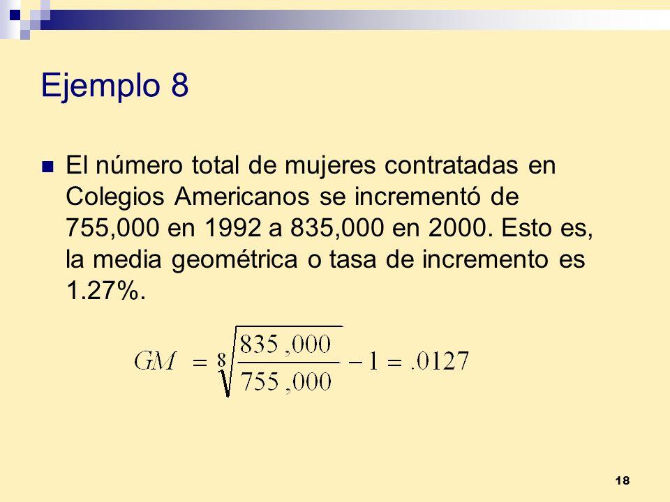 18 Ejemplo 8 El número total de mujeres contratadas en Colegios Americanos se incrementó de 755,000 en 1992 a 835,000 en 2000. Esto es, la media geomé