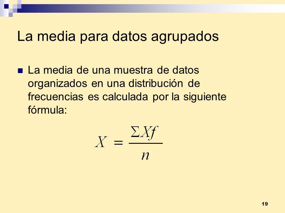 19 La media para datos agrupados La media de una muestra de datos organizados en una distribución de frecuencias es calculada por la siguiente fórmula