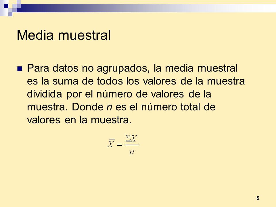 5 Media muestral Para datos no agrupados, la media muestral es la suma de todos los valores de la muestra dividida por el número de valores de la mues