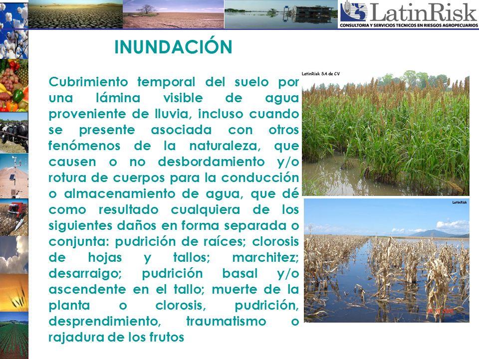 INUNDACIÓN Cubrimiento temporal del suelo por una lámina visible de agua proveniente de lluvia, incluso cuando se presente asociada con otros fenómeno