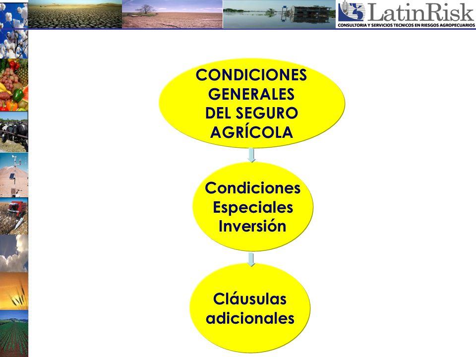 CONDICIONES GENERALES DEL SEGURO AGRÍCOLA Condiciones Especiales Inversión Cláusulas adicionales