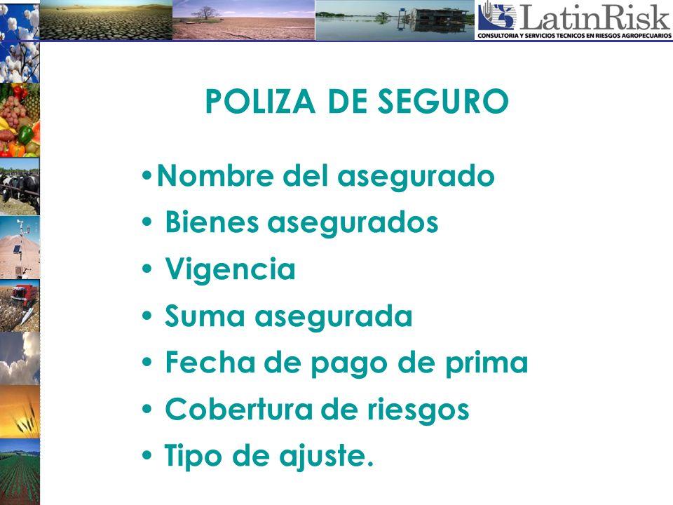 POLIZA DE SEGURO Nombre del asegurado Bienes asegurados Vigencia Suma asegurada Fecha de pago de prima Cobertura de riesgos Tipo de ajuste.