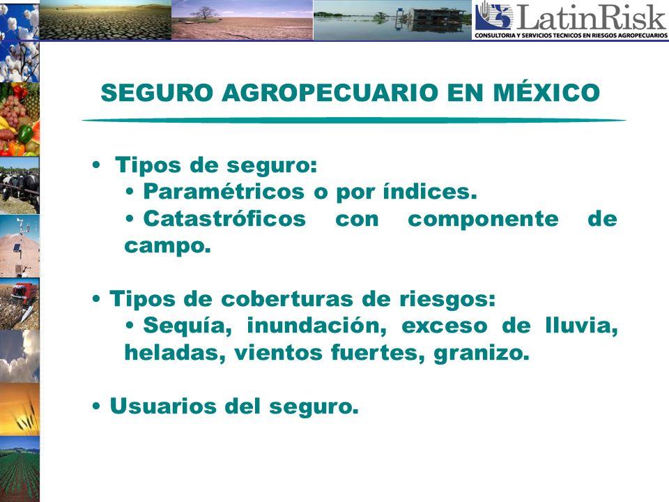 SEGURO AGROPECUARIO EN MÉXICO Tipos de seguro: Paramétricos o por índices. Catastróficos con componente de campo. Tipos de coberturas de riesgos: Sequ