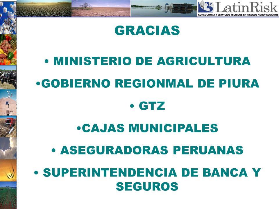 GRACIAS MINISTERIO DE AGRICULTURA GOBIERNO REGIONMAL DE PIURA GTZ CAJAS MUNICIPALES ASEGURADORAS PERUANAS SUPERINTENDENCIA DE BANCA Y SEGUROS