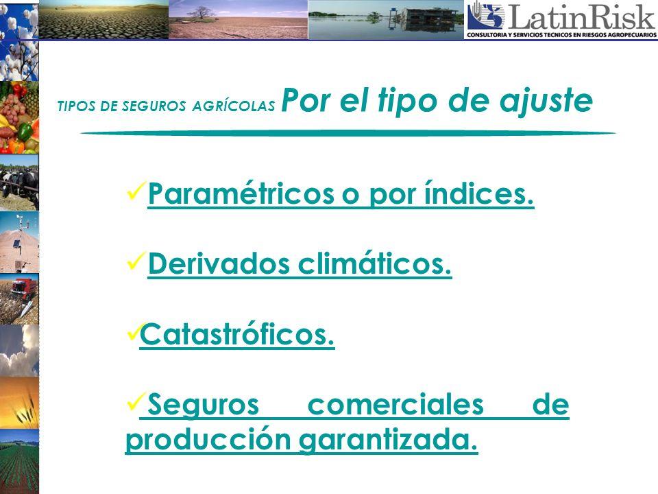 Paramétricos o por índices. Derivados climáticos. Catastróficos. Seguros comerciales de producción garantizada. TIPOS DE SEGUROS AGRÍCOLAS Por el tipo