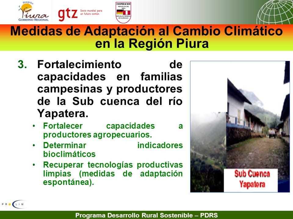 Programa Desarrollo Rural Sostenible – PDRS 3.Fortalecimiento de capacidades en familias campesinas y productores de la Sub cuenca del río Yapatera. F