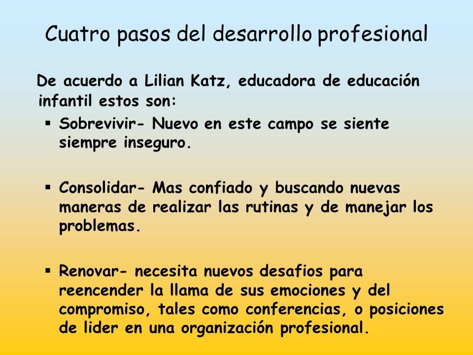 Cuatro pasos del desarrollo profesional De acuerdo a Lilian Katz, educadora de educación infantil estos son: Sobrevivir- Nuevo en este campo se siente