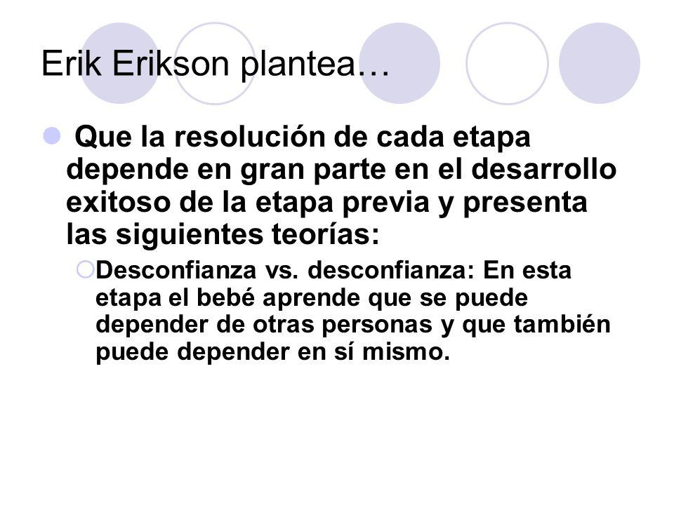 Erik Erikson plantea… Que la resolución de cada etapa depende en gran parte en el desarrollo exitoso de la etapa previa y presenta las siguientes teor