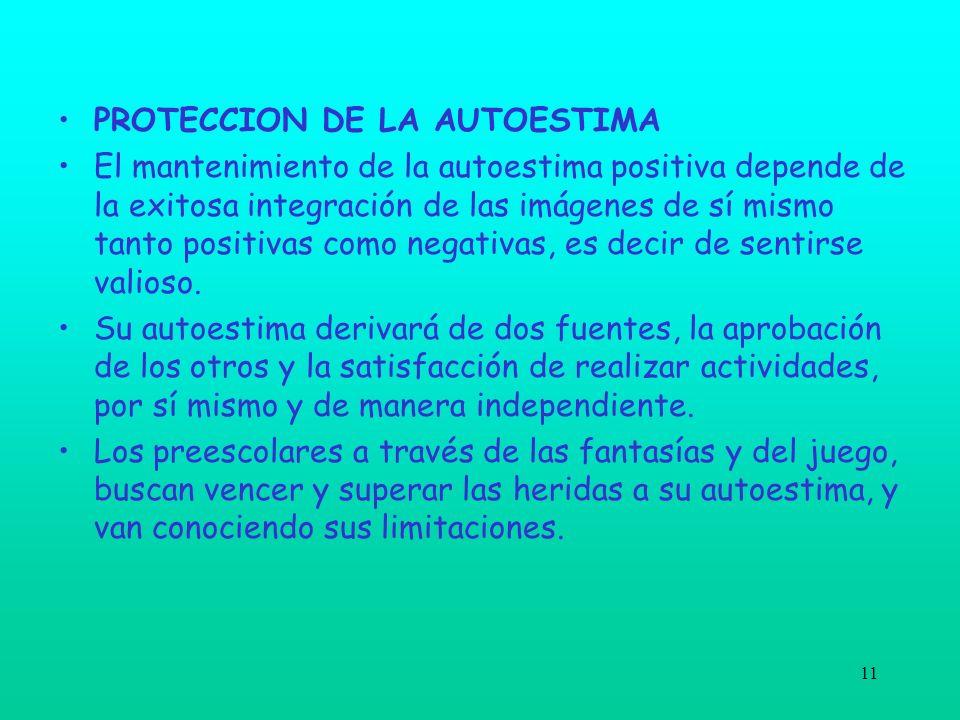 11 PROTECCION DE LA AUTOESTIMA El mantenimiento de la autoestima positiva depende de la exitosa integración de las imágenes de sí mismo tanto positiva