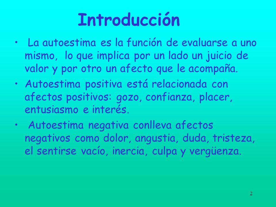 2 Introducción La autoestima es la función de evaluarse a uno mismo, lo que implica por un lado un juicio de valor y por otro un afecto que le acompañ