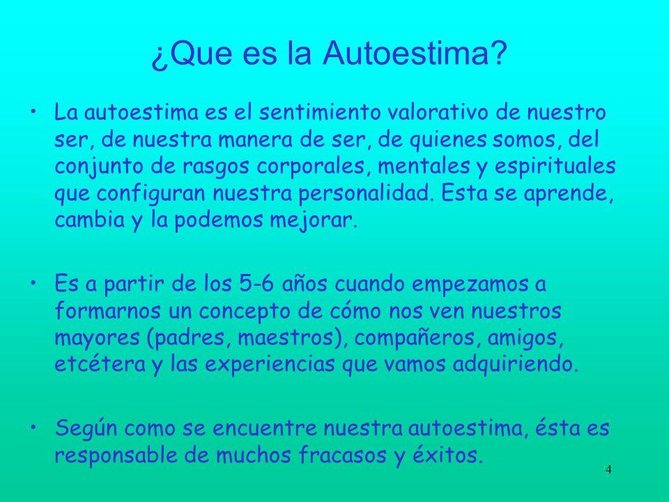 4 ¿Que es la Autoestima? La autoestima es el sentimiento valorativo de nuestro ser, de nuestra manera de ser, de quienes somos, del conjunto de rasgos