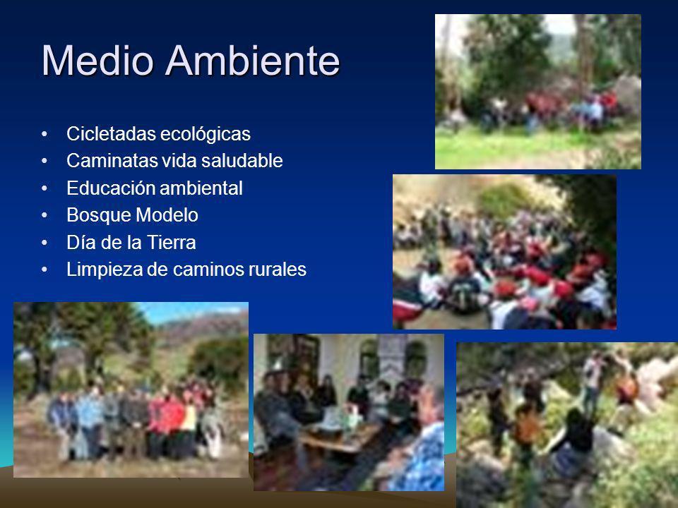 Medio Ambiente Cicletadas ecológicas Caminatas vida saludable Educación ambiental Bosque Modelo Día de la Tierra Limpieza de caminos rurales