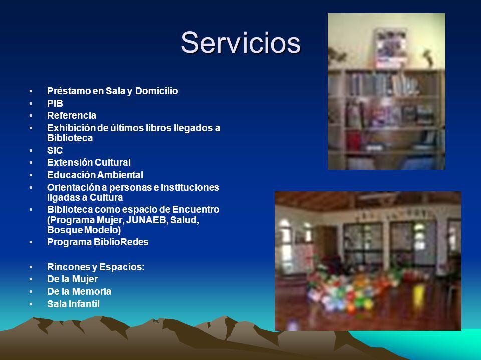 Servicios Préstamo en Sala y Domicilio PIB Referencia Exhibición de últimos libros llegados a Biblioteca SIC Extensión Cultural Educación Ambiental Or