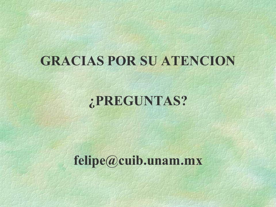 GRACIAS POR SU ATENCION ¿PREGUNTAS? felipe@cuib.unam.mx