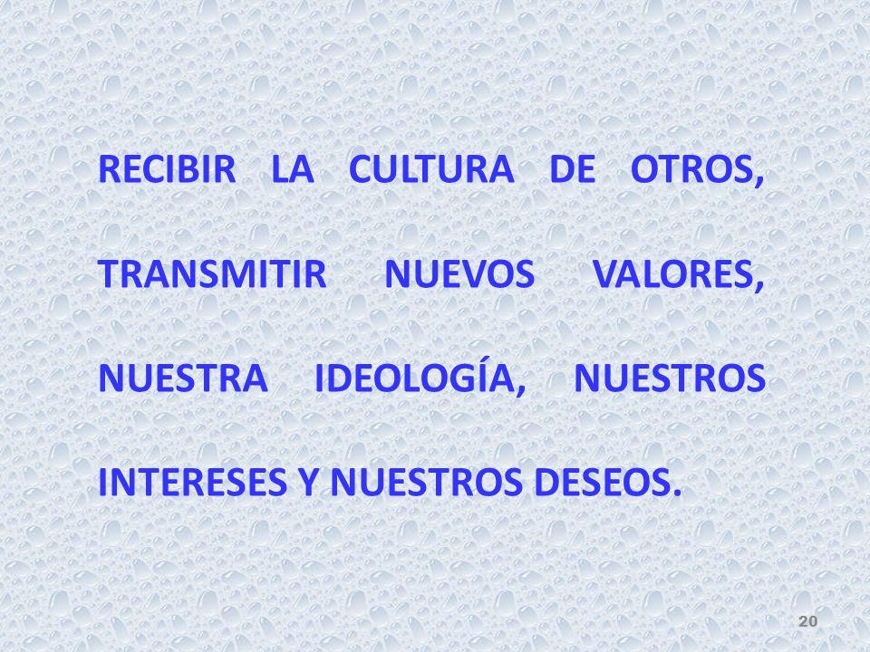RECIBIR LA CULTURA DE OTROS, TRANSMITIR NUEVOS VALORES, NUESTRA IDEOLOGÍA, NUESTROS INTERESES Y NUESTROS DESEOS. 20