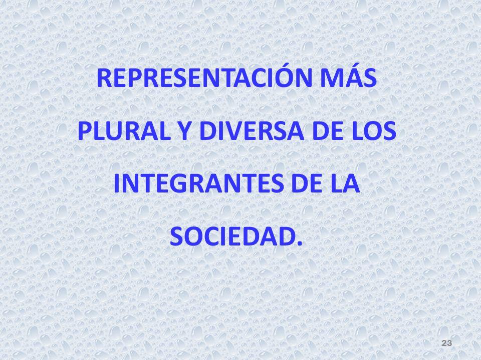 REPRESENTACIÓN MÁS PLURAL Y DIVERSA DE LOS INTEGRANTES DE LA SOCIEDAD. 23