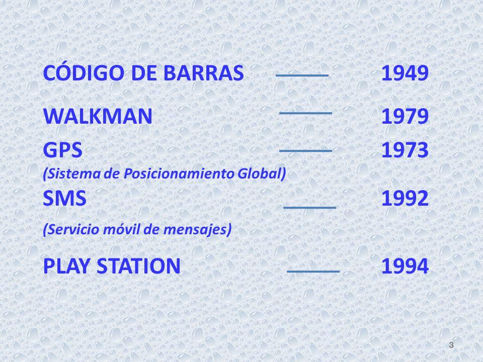 CÓDIGO DE BARRAS1949 WALKMAN1979 GPS 1973 (Sistema de Posicionamiento Global) SMS1992 (Servicio móvil de mensajes) PLAY STATION1994 3