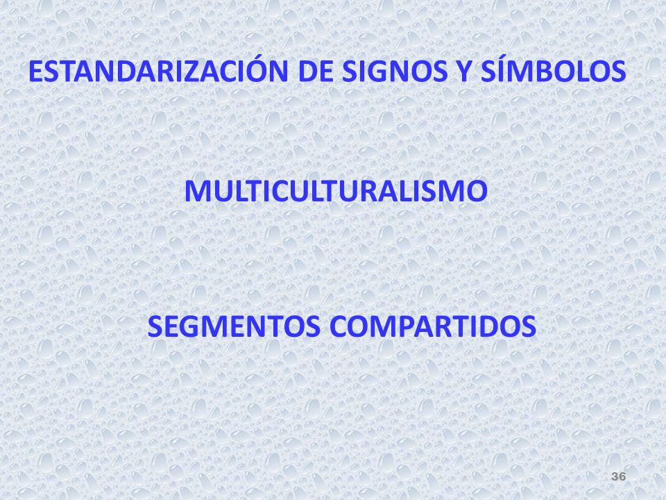ESTANDARIZACIÓN DE SIGNOS Y SÍMBOLOS MULTICULTURALISMO SEGMENTOS COMPARTIDOS 36